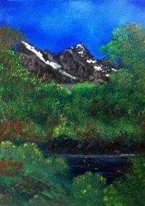 Landschaft, Berge, Schnee, Wasser
