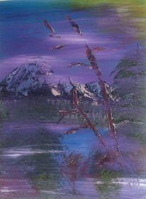 Berge, Schnee, Ölmalerei, Landschaft