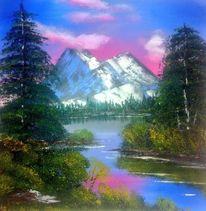 Berge, Baum, Glühend, Wasser