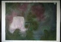 Wasserfall, Regenwald, Lila, Malerei