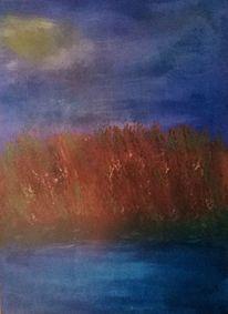 Landschaft, Schilf, Wasser, Malerei