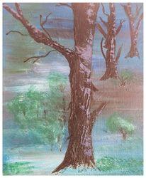 Baum, Landschaft, Grün, Malerei