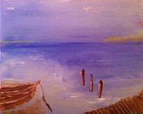 Möwe, Wasser, Boot, Malerei