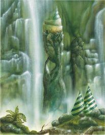 Licht, Wasserfall, Malerei, Mischtechnik