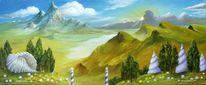 Schneckenhaus, Landschaft, Wolken, Licht