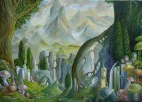 Schneckenhaus, Baum, Höhle, Berge