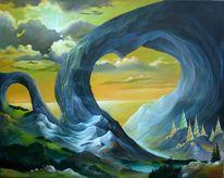 Berge, Licht, Landschaft, Malerei
