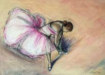 Ballerina, Degas, Karton, Malerei