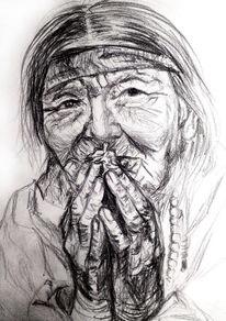 Tibet, Frau, Schnelle zeichnung, Zeichnungen