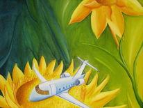 Sonnenblumen, Flugzeug, Malerei