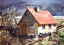 Haus, Holland, Aquarellmalerei, Aquarell