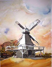 Twente, Mühle, Aquarellmalerei, Holland