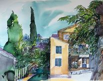 Provence, Dorf, Stadt, Aquarell