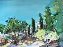 Haus, Garten, Provence, Aquarell