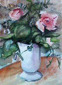 Rose, Vase, Blumen, Aquarell