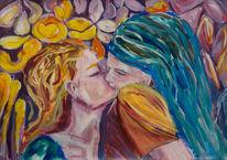 Liebe, Blumen, Kuss, Liebespaar