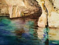 Spiegelung, Höhle, Grotte, Aquarell