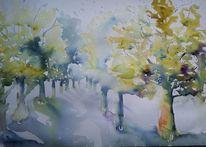 Allee, Baum, Schatten, Aquarell