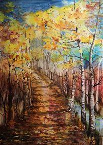 Weg, Herbst, Baum, Aquarell