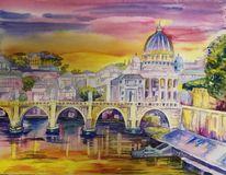 Rom, Tiber, Sonnenuntergang, Aquarell