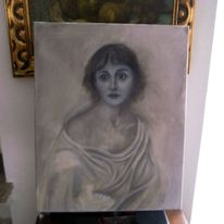 Mädchen, Frau, Ölmalerei, Portrait