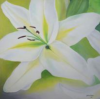 Grün, Lilie, Ölmalerei, Blumen