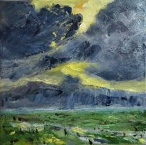 Gewitter, Nordsee, Himmel, Ölmalerei