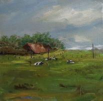 Idylle, Nordsee, Friesland, Ölmalerei