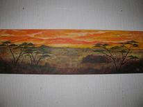 Afrika savanne sonnenuntergang, Malerei, Weite