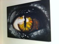 Dunkel, Drache, Fantasie, Acrylmalerei