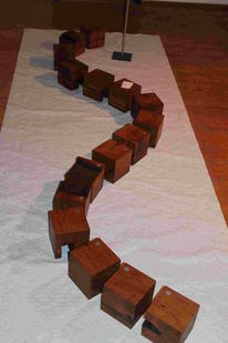 Skulptur, Würfel, Installation, Fachwerk