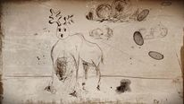Schwarzweiß, Hirsch, Tinte, Zeichnungen