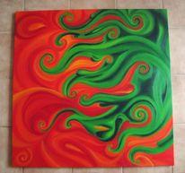 Spirale, Orange, Grün, Malerei