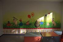 Tiere feiern geburtstag, Malerei, Wandmalerei, Geburtstag