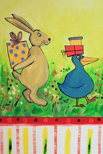 Schönes für kinder, Hase, Vogel, Malerei