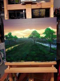 Abendstimmung, Baum, Landschaft, Malerei