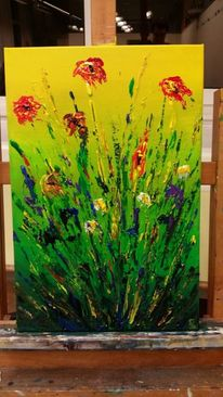 Abstrakt, Blumen, Acrylmalerei, Malerei