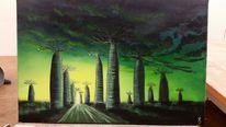 Sturm, Sonnenuntergang, Landschaftsmalerei, Malerei