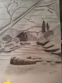 Bleistiftzeichnung, Landschaft, Zeichnungen, Bach