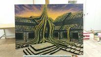Angkor, Abendstimmung, Malerei, Kambodscha