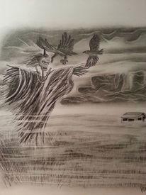 Landschaft, Bleistiftzeichnung, Zeichnungen