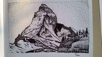 Schweiz, Zeichnung, Berge, Landschaft