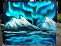 Kalt, Ölmalerei, Nordlicht, Blau
