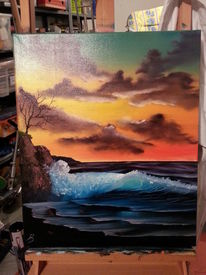 Sonnenaufgang, Landschaft, Strand welle, Ölmalerei
