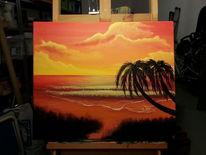 Sonnenuntergang, Meer, Strand, Warm