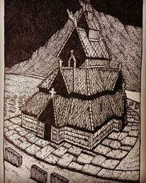 Kirche, Stabskirche, Zeichnen, Dotwork