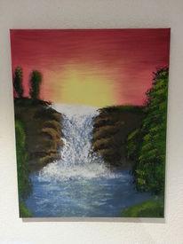Wasserfall, Sonnenuntergang, Landschaft, Malerei