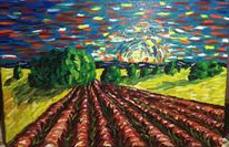 Leinen, Pastös, Landschaft, Ölmalerei