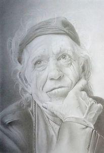 Portrait, Bleistiftzeichnung, Handzeichnung, Zeichenkarton
