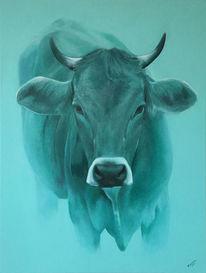 Kuh, Türkis, Malerei,